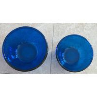 2 большие синие стеклянные формы - б/у