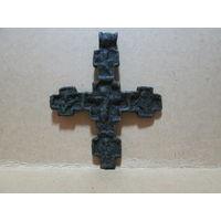 Крест-распятие старинный 16-17 век бронза 7х5,6 см