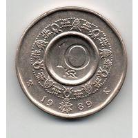 КОРОЛЕВСТВО НОРВЕГИЯ. 10 крон 1989. Орден Святого Олафа.