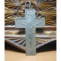 Крестик-памятка старинный католический, бронза