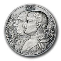 """Ниуэ 5 долларов 2012г. """"Война 1812г. Наполеон I Бонапарт"""". Монета в капсуле; деревянном подарочном футляре; номерной сертификат; коробка. СЕРЕБРО 62,27гр.(2 oz)."""