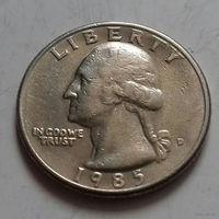 25 центов, США 1985 D