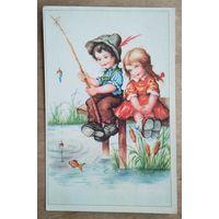 Дети на рыбалке. Германия. 1950-е. Подписана