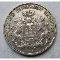 Германия, Гамбург, 5 марок, 1908, серебро
