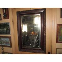 Зеркало настенное старинное с рисунком в раме 20-30-е г.20-го века.