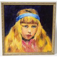 """Картина. Масло, холст. Копия К.Е. Маковского """"Портрет девочки с голубой лентой в волосах"""""""
