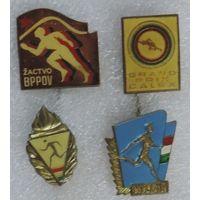 Спортивные иностранные значки 4 шт.