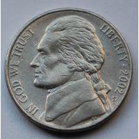 США, 5 центов 2002 г. D