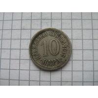Королевство Сербия 10 пара 1912г.