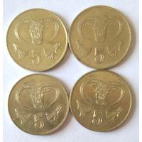 Кипр, 5 центов. Список