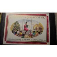 Новый год и Рождество, праздники, марки, Сент-Винсент, 1987, блок, елка, дети, книги