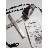 Комплект: цепочка, крестик, кольцо (20 размер с черным агатом)