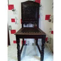 Панский антикварный дубовый стул , Европа 19 век.