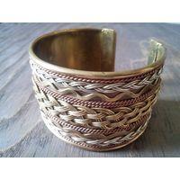 Широкий браслет-1, металл+плетение, Индия, винтаж