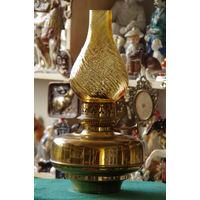 Лампа керосиновая  латунная  ( высота 41 см , диаметр колбы 22 см )