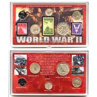 США редкий набор 1942 - 1945 WORLD WAR II монеты марки