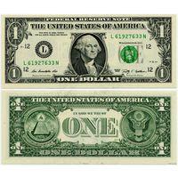 США. 1 доллар (образца 2009 года, L, Калифорния, P530, UNC)