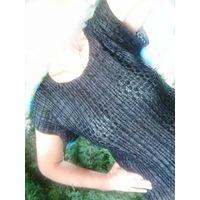 Блузка черная, кружево, гофре р.44-48.Сост.новой.