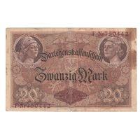 Германия 20 марок 1914 года. 6-значный номер. Нечастая!