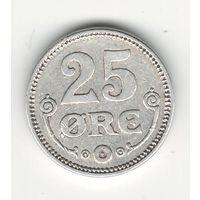 Дания 25 оре 1919 года. Серебро. Буквы HCN; GJ. Краузе KM# 815.2. Состояние XF!