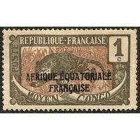 Кошки. Французское Среднее Конго. 1924. Леопард. 1c. Чистая