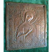 Икона образ Богородица бронза латунь 19 век редкая 14 * 13 см.