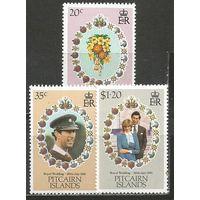 Питкэрн. Принц Чарльз и леди Диана. Королевская свадьба. 1981г. Mi#209-11. Серия.