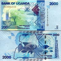 Уганда  2000 шиллингов  2019 год  UNC