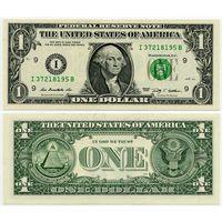 США. 1 доллар (образца 2009 года, I, Миннесота, P529, UNC)