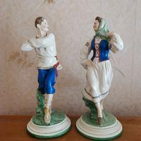 Редкие парные фарфоровые статуэтки скульптуры ЛЯВОН и ЛЯВОНИХА МФФЗ