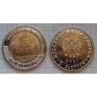 Польша 5 злотых, 2021г. Крановые ворота в Гданьске