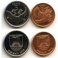 Кирибати 1, 5 центов (Фауна, Ящерица, Геккон, Птица фрегат) 1979 г., 1992 г.
