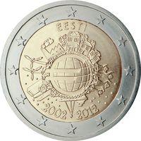 2 евро Эстония 2012 10 ЛЕТ НАЛИЧНОМУ ОБРАЩЕНИЮ ЕВРО UNC из ролла