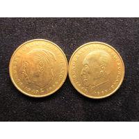ЦЕНТРАЛЬНАЯ ЕВРОПА ГЕРМАНИЯ 2 марки 1974 J (К.Аденауэр), 1989 D (Л. Эрхард) цена одной монеты 3,7 руб