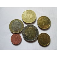 Набор евро монет Австрия 2006 г. (1, 10, 20, 50 евроцентов, 1, 2 евро)