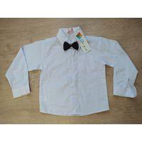 Новая белая рубашка с бабочкой на рост 98-104