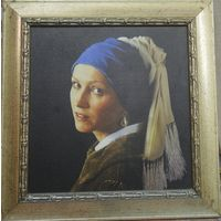 Портрет девушки с  жемчужиной в ухе. Цветная печать на  холсте.