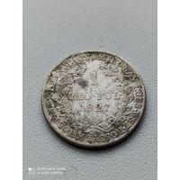Единственное предложение на АУ.1 злотый 1827 г. IB. Для Польши (Николай I).Тираж: 106 356 шт.