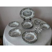 Сервиз столовый + чайный Heritage 61 предмет фарфор (ручная роспись сцен из жизни Канады 1842) производство Ridgway of Staffordshire England Англия.