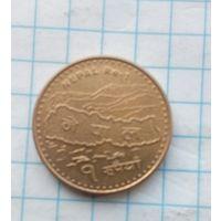 Непал 1 рупия 2009г. Карта.