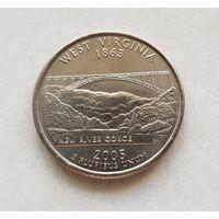 25 центов США 2005 г. штат Западная Вирджиния P