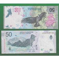 Банкнота Аргентина 50 песо (2018) UNC ПРЕСС новая серия, андский кондор