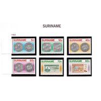 Суринам-1983,(Мих.1032-1037) **  , Нумизматика, банкноты, птицы