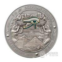 """Палау 20 долларов 2015г. """"Символы Египта: ГЛАЗ ГОРA"""". Монета в капсуле; шикарном деревянном подарочном футляре; сертификат, коробка. СЕРЕБРО 93,311гр.(3 oz)."""