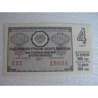 Лотерея 1969 (4 тираж) БССР