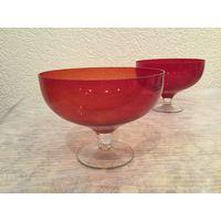 Ваза для конфет (фруктов) Коралловая, стекло. СССР