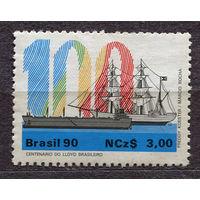 Корабль. Парусник. Бразилия. 1990. Полная серия 1 марка. Чистая