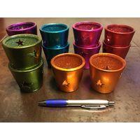Подсвечники 12 штук разного цвета, керамика + свечи в подарок