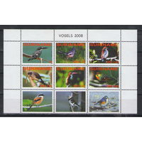 Суринам Птицы 2008 год чистая полная серия из 9-ти марок в верхней части листа