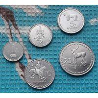 Грузия набор монет 1, 2, 5, 10, 20 тетри 1993 года, UNC. 5 тетри - символ БНБ-Банка!